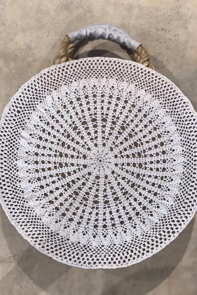 Round Beach Bag with White Crochet