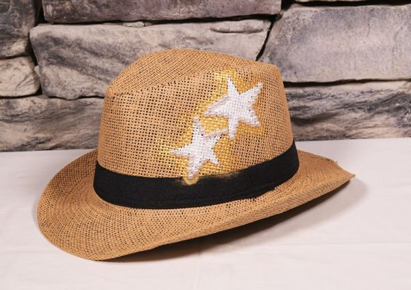 Beige Hat Painted White Stars And Pearls