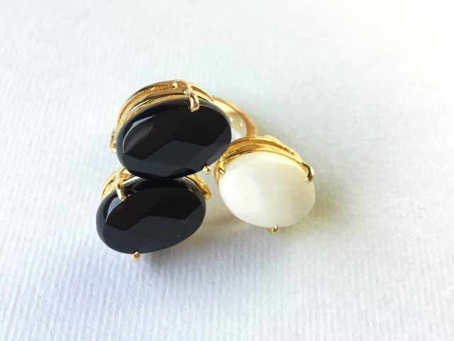 black and white ring