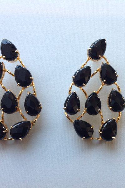 Gold and black handmade earrings