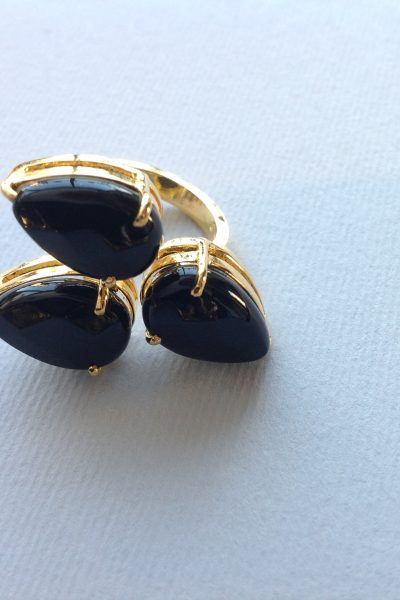 Ring gold and black handmade