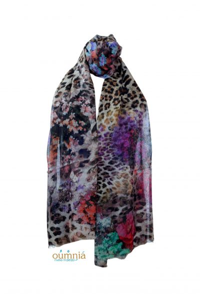 Animal Print Floral Bouquet Scarf