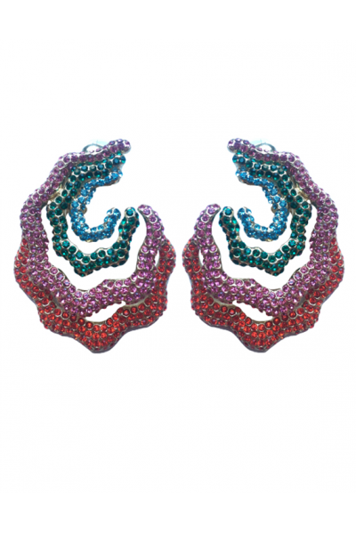 B.O Strass Multicolor Earrings