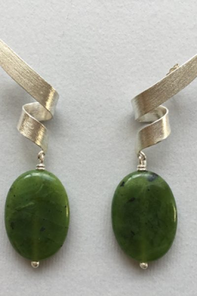Silver Dark Green Earrings