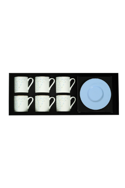 Floral Espresso Cup With Saucers (Set of 6)