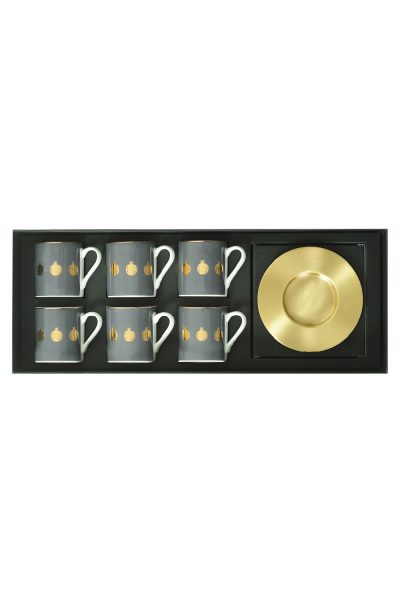 Pomegranate Espresso Cup With Matte Brass Saucers (Set of 6)