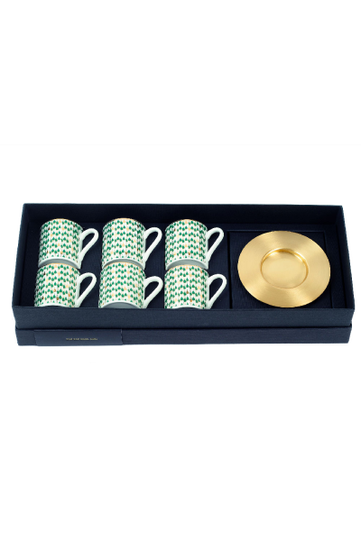 Swirl Green Espresso Cup With Saucers (Set of 6)