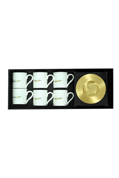 Olive Branch Espresso Cup With Saucers (Set of 6)