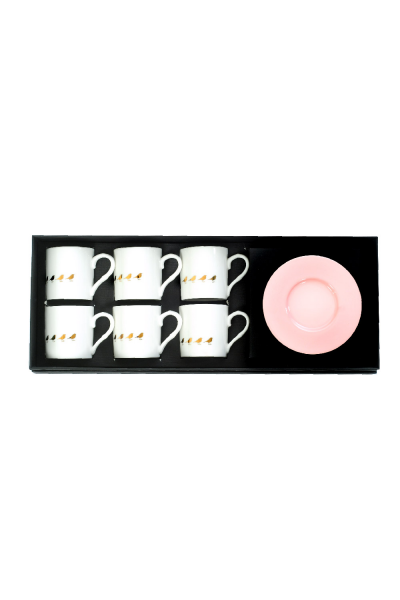 Pink Bird Espresso Cup With Saucers (Set of 6)
