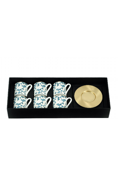 Geo Blue Espresso Cup With Saucers (Set of 6)