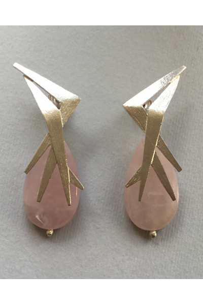 Silver Light Pink Earrings