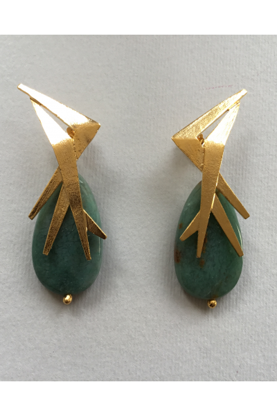 Gold Dark Green Earrings