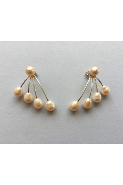 Silver Pink Pearls Earrings