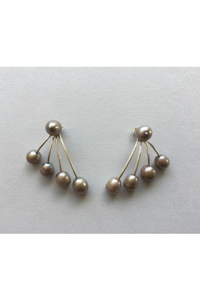Silver Grey Pearls Earrings
