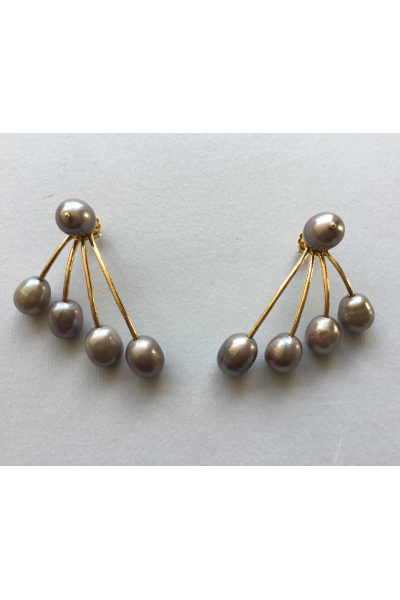 Gold Grey Pearls Earrings