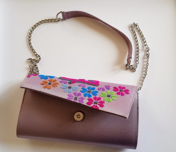 Hob Flowers Hand Embroidered Clutch