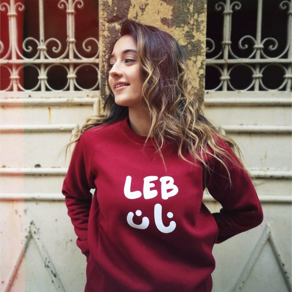 Burgundy Sweater With White Lebnan