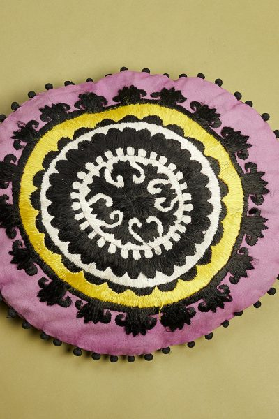 Round Shape Embroidered Cushion
