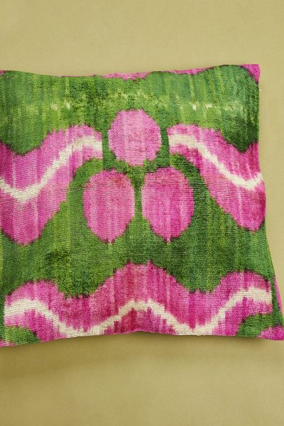 Velvet Cushion in Fuchsia & Green