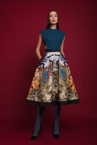 Printed Artwork Midi Skirt