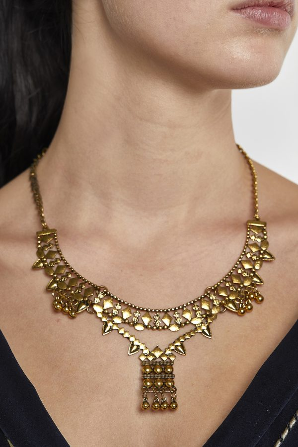 Thin Tribal Necklace Gold-Plated