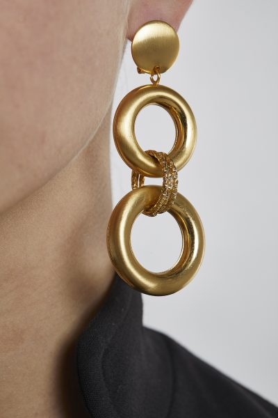 Long Earrings Rounds Gold-Plated 3 Microns