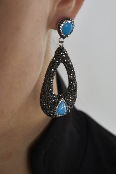 Black Zirconium Teardrop Earrings