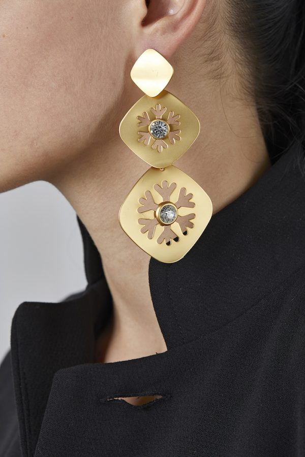 Long Earrings Motifs Gold-Plated 3Microns