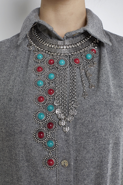Long Tribal Silver Necklace