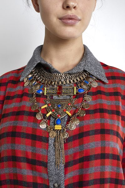 Large Tribal Necklace Gold-Plated