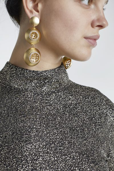 Long Earrings Rounds And Zirconium Gold-Plated