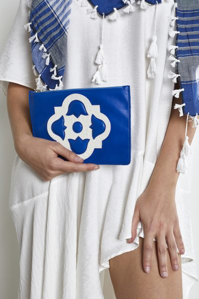 Blue White Leather Pouch
