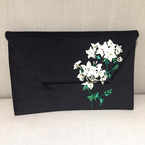 Slim Clutch – Black Velvet with painted flower