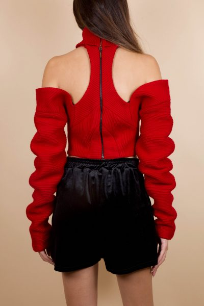 Red Cutout Top Wool
