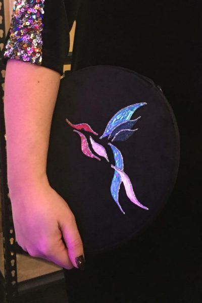 Slim Clutch – Black Velvet with handpainted bird