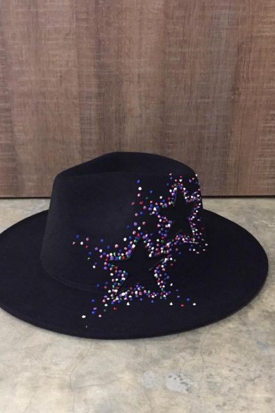 Black velvet Hat – multicolor stars