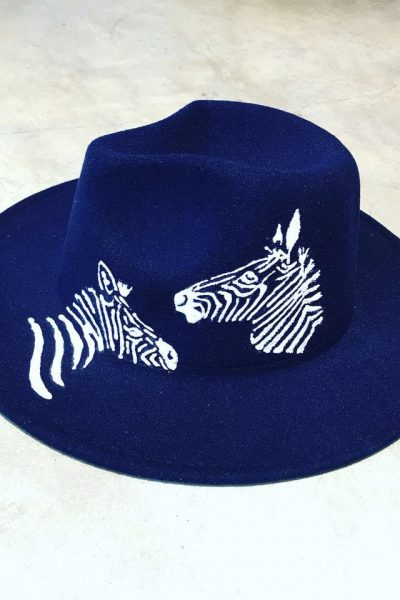 Navy Blue velvet Hat – white zebra