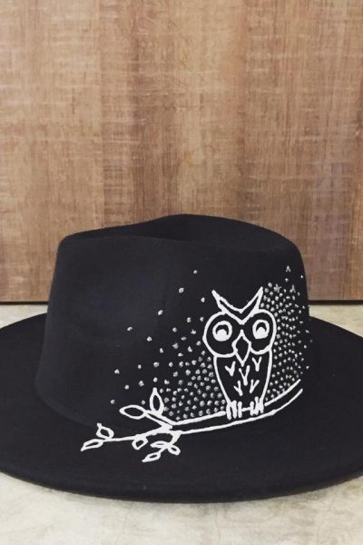 Black velvet Hat – white owl