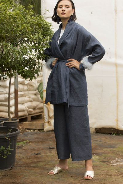 Navy Feather Co-ord Set
