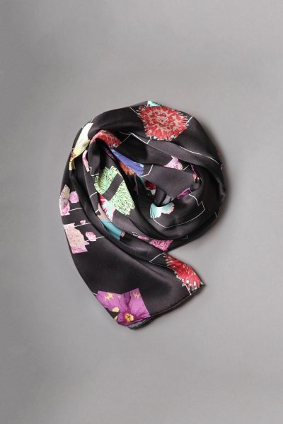 Black Alpha Silk Scarf