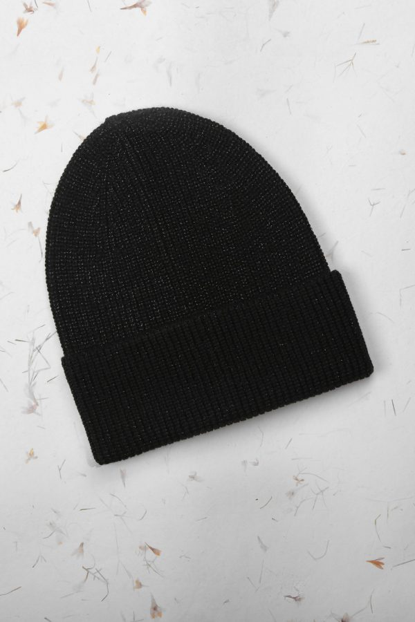 Black Metallic Beanie Hat