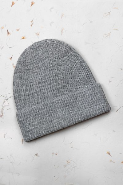 Grey Metallic Beanie Hat