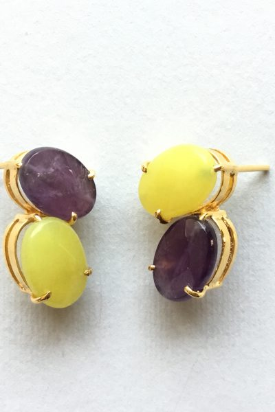 Bo PtiBonbon Purple and Yellow Earrings