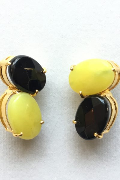 Bo PtiBonbon Black and Yellow Earrings