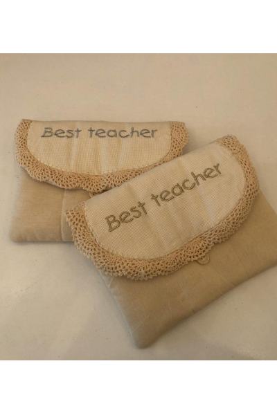 Best Teacher Beige Pouch