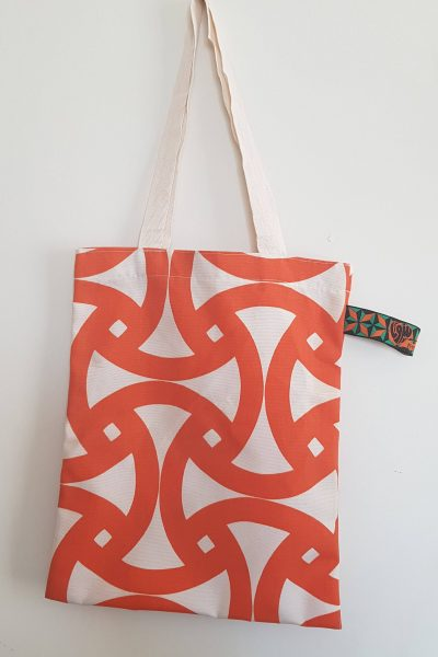 Patterned Tote Bag – Heart Beirut Tag – Beige and Orange