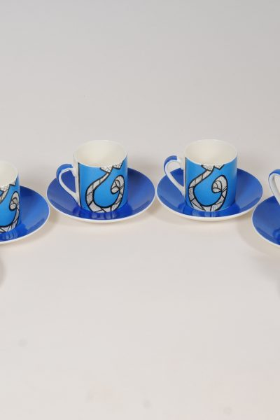 Royal Blue Calligraphy Coffee Cups , Set of 6