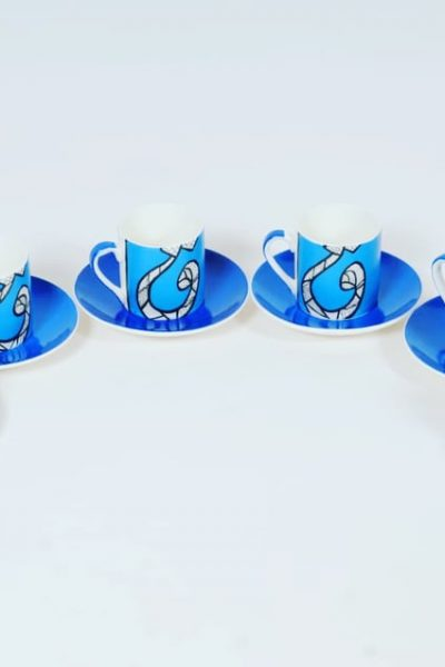 Calligraphy Coffee Cups , Set of 6