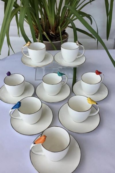 Colored Bird Coffee Cups Set Of 6