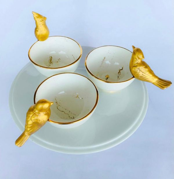 Pleated Gold Bird Coffee Cups Set Of 6